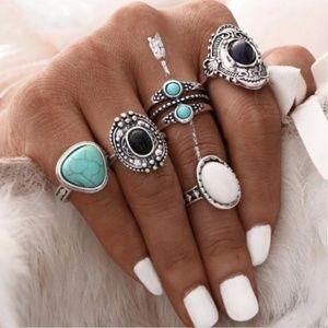 New! Women's Bohemian Vintage Silver 5pc Ring Set